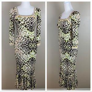 NWT. Just Cavalli Multicolor Midi Dress. Size 42.